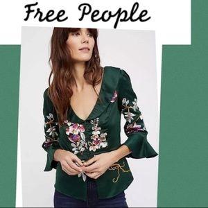 Free People Beautiful Dreams Satin Blouse Green M
